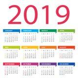 2019 år kalender - vektorillustration Veckastarter på söndag royaltyfri illustrationer
