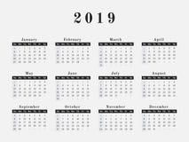 2019 år kalenderhorisontaldesign Royaltyfria Bilder