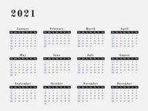 2021 år kalenderhorisontaldesign Royaltyfri Bild