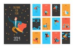 2019 år månatlig kalender med toppna hjältar för plana folktecken Kalendermallorientering med mannen och kvinnan royaltyfri illustrationer