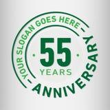 55 år mall för årsdagberömdesign Årsdagvektor och illustration Femtiofem år logo stock illustrationer