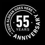55 år mall för årsdagberömdesign Årsdagvektor och illustration Femtiofem år logo royaltyfri illustrationer