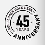 45 år mall för årsdagberömdesign Årsdagvektor och illustration Fyrtiofem år logo vektor illustrationer