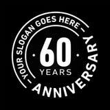 60 år mall för årsdagberömdesign Årsdagvektor och illustration Sextio år logo stock illustrationer