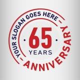 65 år mall för årsdagberömdesign Årsdagvektor och illustration Sextiofem år logo vektor illustrationer