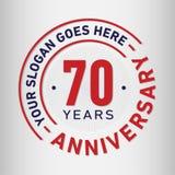 70 år mall för årsdagberömdesign Årsdagvektor och illustration Sjuttio år logo vektor illustrationer