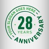 28 år mall för årsdagberömdesign Årsdagvektor och illustration Tjugoåtta år logo stock illustrationer