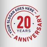 20 år mall för årsdagberömdesign Årsdagvektor och illustration Tjugo år logo stock illustrationer