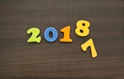 År 2018 med nummer 7 som ner faller Slut av året Det nya året är c Royaltyfri Bild
