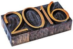 2016 år - nummer i wood typ för boktryck Arkivfoto