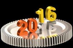 År 2016 på kugghjulillustration arkivfoton