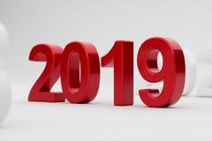 2019 år på vit bakgrund slapp fokus Royaltyfri Foto