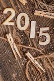 2015 år som göras av trä Arkivbild