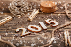 2015 år som göras av trä Fotografering för Bildbyråer