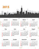 2015 år stilfull kalender på cityscapegrungebakgrund Arkivbild