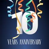 10 år symbol för årsdagberömvektor, logo Fotografering för Bildbyråer
