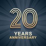 20 år symbol för årsdagberömvektor, logo Arkivbilder