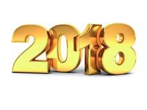 År tvåtusen arton, lyckligt nytt år 2018, guld- text som 3D isoleras över vit bakgrund Royaltyfri Foto