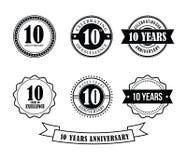 10 år vektor för stämpel för årsdagemblememblem vektor illustrationer