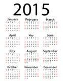 2015 år vektorkalender Arkivfoton