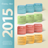 2015 år vektorkalender Royaltyfria Bilder