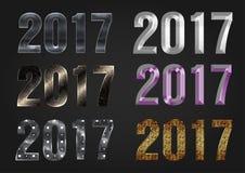 2017 år vektortypografi royaltyfri illustrationer