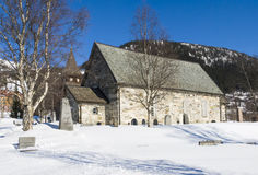 Åre medieval church wintertime Stock Photo