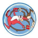 Året av apan Santa Claus med apan Arkivbild
