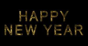 Året 2018, 2019, 2020, 2021, 2022 för gul guld för tappning uttrycker det metalliska lyckliga nya text med ljus reflex på svart b stock video