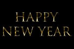 Året 2018, 2019, 2020, 2021, 2022 för gul guld för tappning uttrycker det metalliska lyckliga nya text med ljus reflex på svart b vektor illustrationer