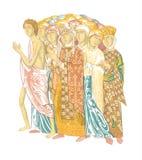 århundradefreskomålning för th 12 på väggen av den Dmitrievsky domkyrkan i Vladimir vektor illustrationer