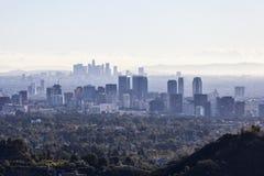 Århundradestad och i stadens centrum Los Angeles smog Arkivbild