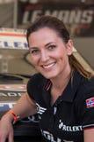 ÅRHUS DANMARK - MAJ 28 2016: Molly Pettit #28 - Audi - danska Supertourisme på det klassiska loppet Århus 2016 Arkivbild