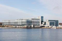 Århus hamn i Danmark Arkivbilder