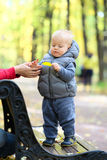 Årig en behandla som ett barn pojken i höst parkerar med hans moder Royaltyfri Foto