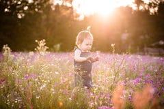 Årig flicka för unge i ett purpurfärgat blommafält Arkivbild