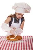 Årig flicka härliga lyckliga sju i kocklikformig med shortca Royaltyfria Foton
