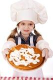Årig flicka härliga lyckliga sju i kocklikformig med shortca Royaltyfri Bild