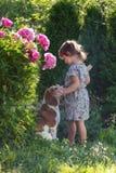 Årig flicka som tre spelar med den gulliga hunden i trädgården Arkivbild