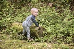 Årig klättring för pojke två och spela på en journal Royaltyfria Foton