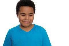 Årig pojke som lyckliga åtta från sidan ser Arkivfoton