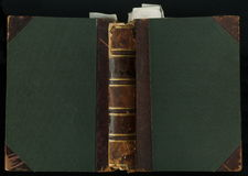 Årigt bokomslag för läder 200 begränsa i läder och torkduk, med bokmärken Arkivbild