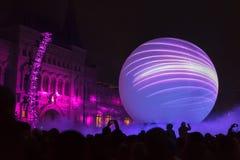 Årlig festivalcirkel för Moskva av ljus Royaltyfria Bilder