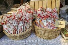 Årlig jul som är ganska på den huvudsakliga marknadsfyrkanten krakow poland arkivfoto