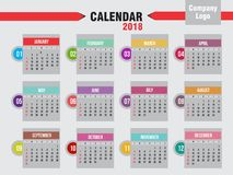 Årlig kalender 2018 Royaltyfri Fotografi