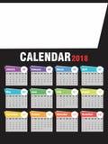 Årlig kalender 2018 Royaltyfri Bild