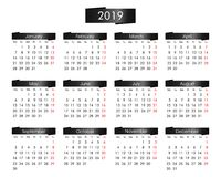 årlig kalender för 2019 år med den metalliska svarten vektor illustrationer
