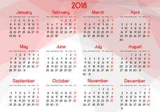 Årlig kalender för året 2018 royaltyfri illustrationer