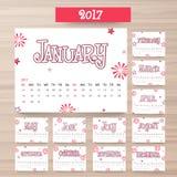 Årlig kalenderdesign för 2017 Royaltyfri Bild