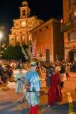 Årlig procession av korsfästelsen av Jesus Christ på easter Arkivfoton